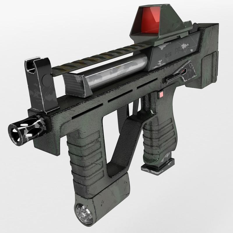submachine gun 3d obj