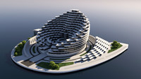 3d futuristic office building 2 model