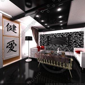 3d model room interior modern