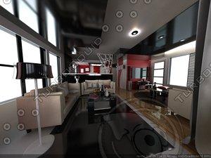 modern interior 3d model