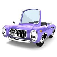 cartoon cabriolet obj