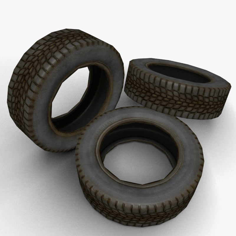 used tire 3d obj