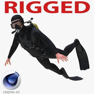 diver dive rigged 3d c4d