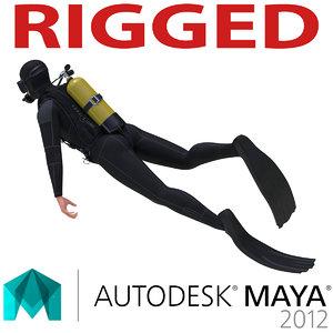 diver rigged 3d model