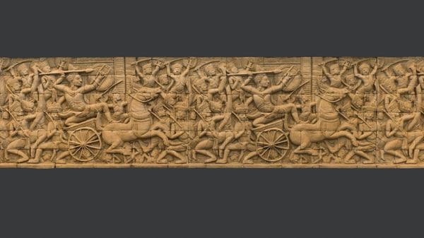 asian bas-relief scan 3d obj