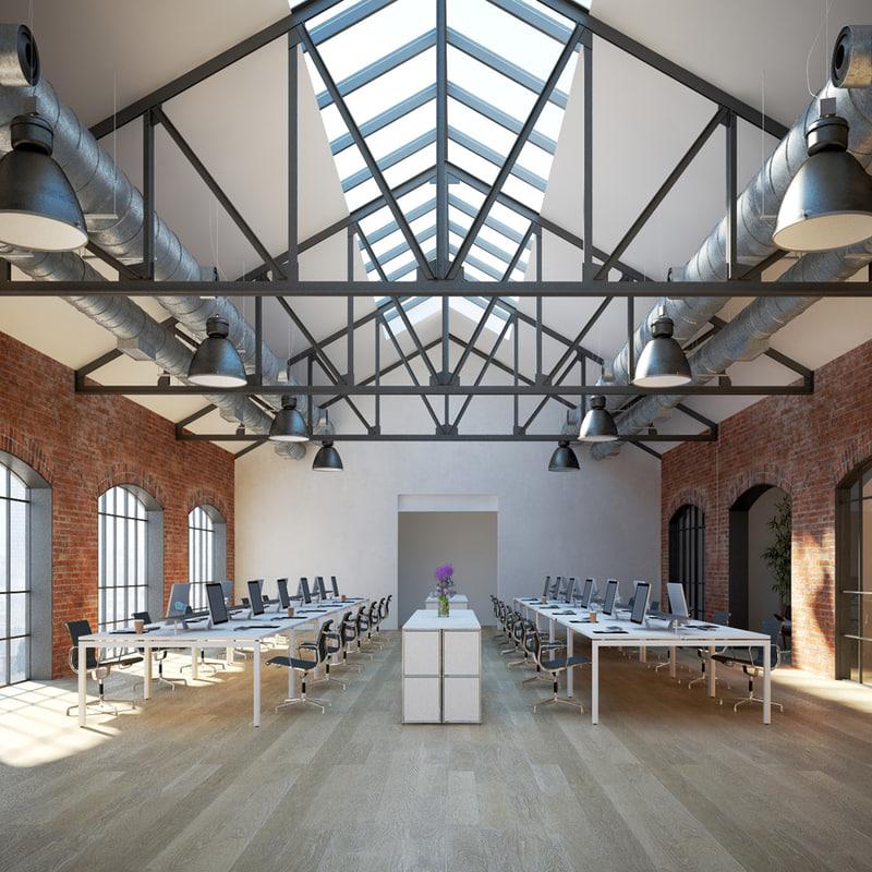 3d model of industrial office interior