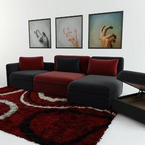 modular sofa carpet triptych obj
