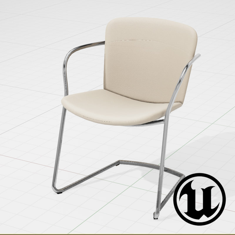 3d unreal halle land cantilever chair