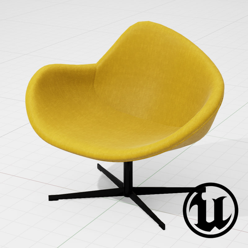 unreal halle k2 swivel chair 3d fbx