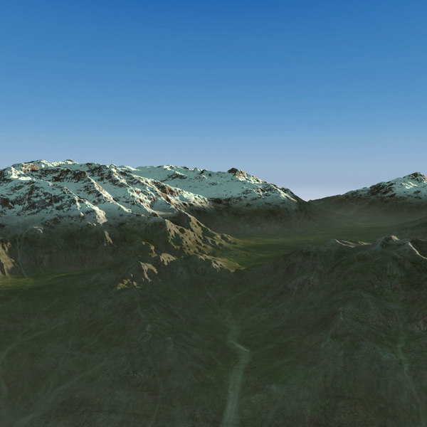 3d model landscape snowy mountains terrain