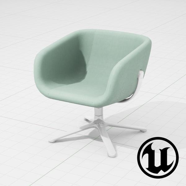 3d unreal halle scoop chair