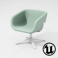 3d unreal halle scoop chair