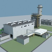 3d model of gas turbine plant