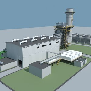 3d model of gas turbine plant