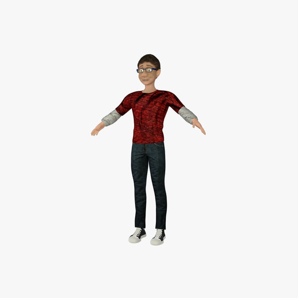 3d cartoon male rigged