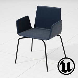 unreal halle wing chair 3d model