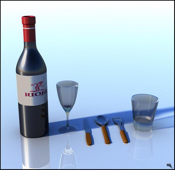 free cutlery glass wine 3d model