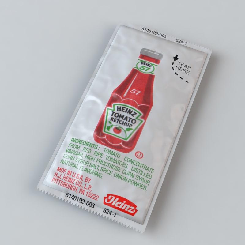 3d heinz ketchup packet