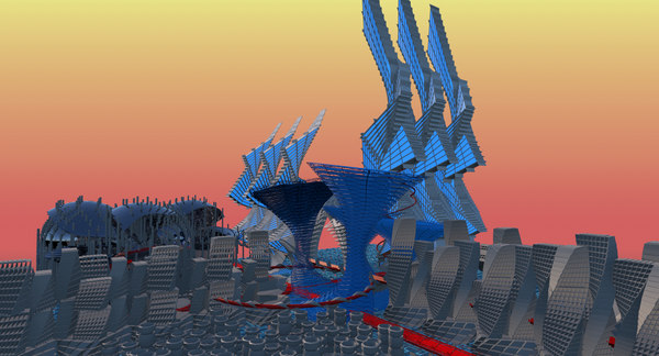 free obj model futuristic townscapes town city