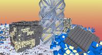futuristic townscapes rubics 3d x