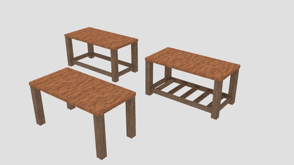 wooden tables obj free