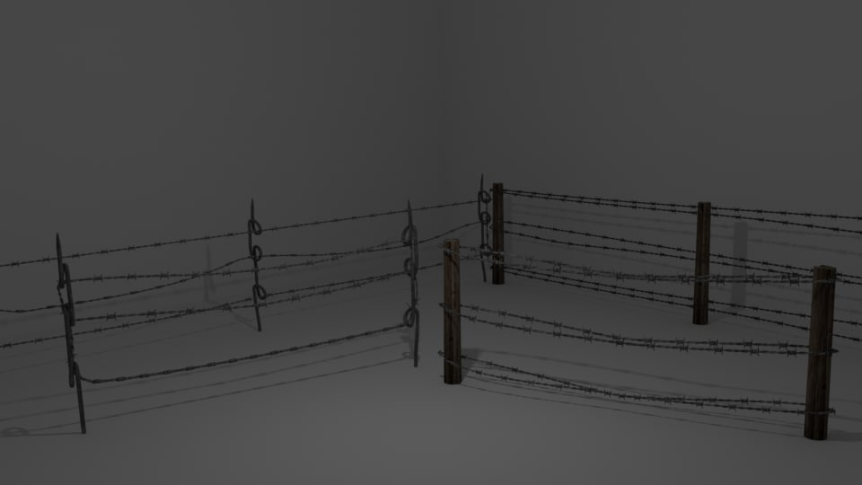 3d barbed wire fences model