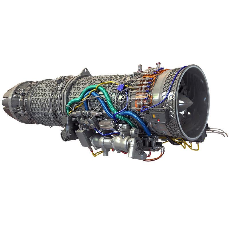3d model eurojet ej200 military turbofan
