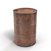 3d model steel oil barrel rusty