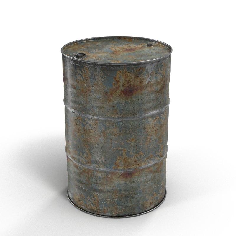 3d model steel oil barrel rusty