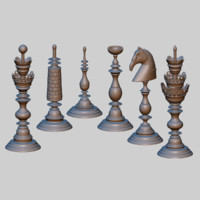 3d chess carved
