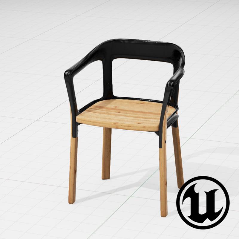 3d model unreal magis steelwood chair