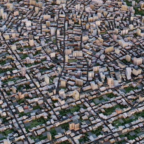 cityscape city streets 3d max