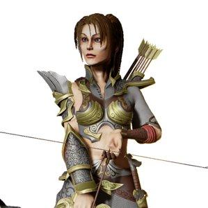 girl archer 3d model