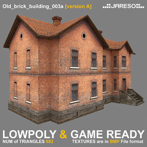 low-polygonal two-floor old brick 3d 3ds