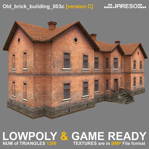 3ds low-polygonal two-floor old brick