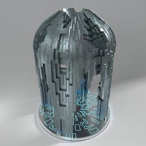 3d model sci fi small temple