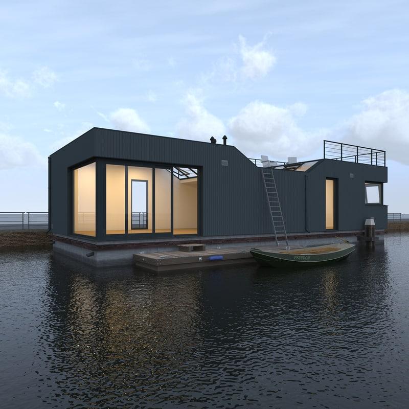 3d modern houseboat moored model