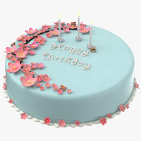 birthday cake candles 01 3d c4d