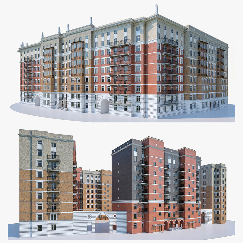 3d Model House Building Residential: 3d Residential Building Exterior Model