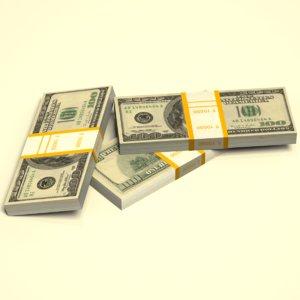 3d dollar stack model