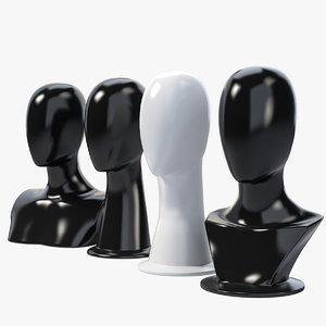 female mannequin head 3d obj