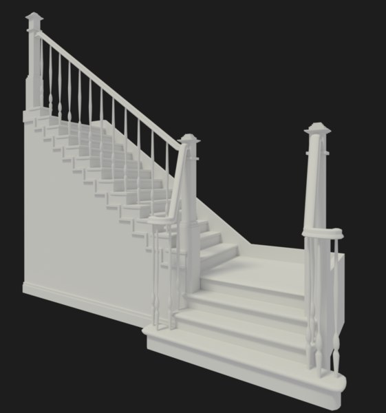 modern staircase 3d 3ds