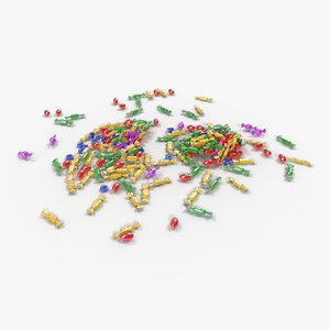 mixed candy pile 3d model