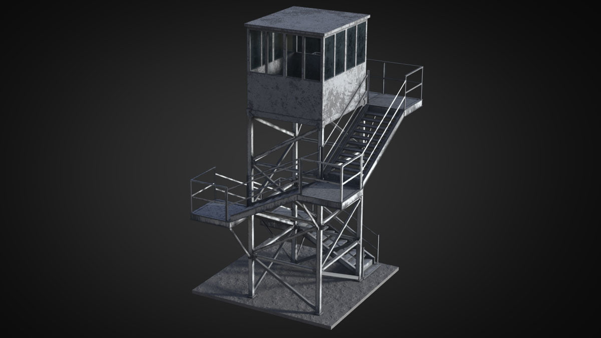 watch tower military 3d max