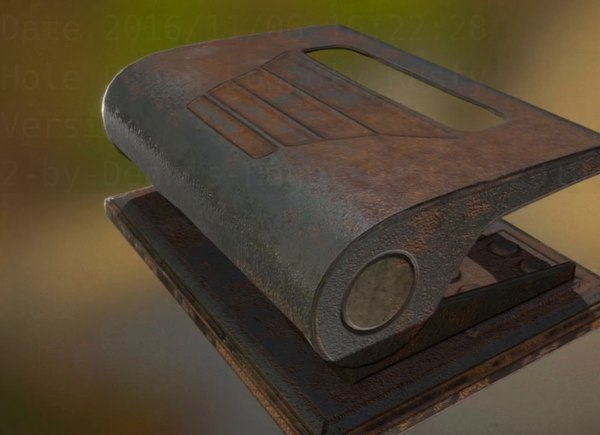 3d model hole punch rigged rust