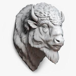 max american bison buffalo head
