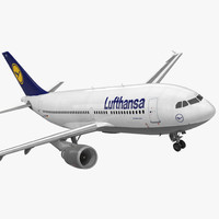 Airbus A310-300 Lufthansa Rigged 3D Model