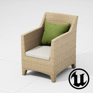 3d model dedon barcelona chair ue4