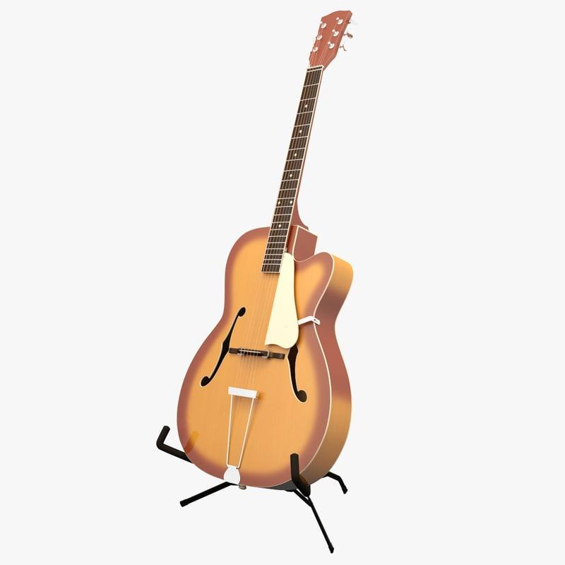 acoustic archtop guitar 3d 3ds