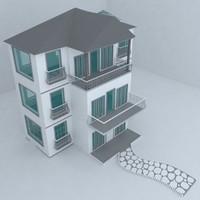 3d model villa street architecture